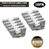 10PK Compatible Brother TZ-231 TZe 231 P-Touch Black on White Label Tape 12mm