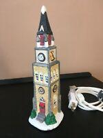 **Vintage ST NICHOLAS SQUARE CLOCK TOWER LIGHTED CHRISTMAS VILLAGE 1997 CERAMIC