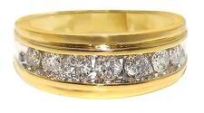 10K Yellow Gold Mens Gold Genuine 9 MM Diamond Wedding Band Ring 1.0 Ct