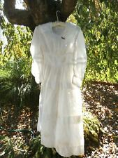 Antique Victorian White Sheer Dress Women  Peg Hanger Primitive  32-22-XS #2