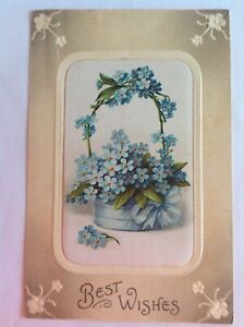 Best wishes~1913~large basket of blue forget-me-not~flag cancel~embossed~Germany