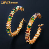 CWWZircons Oversized Handmade Gold Multi Color CZ Big Round Circle Hoop Earrings