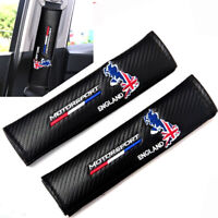MOTORSPORT ENGLAND Seat Belt Cover x2 Carbon Fibre Pads Fit Mini Cooper Vauxhall
