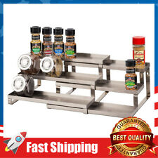 New listing 3 Tier Expandable Spice Shelf Stainless Steel Spice Rack Organizer for Kitchen