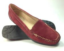 Women's Naturalizer Red Suede Slip On Comfort Casual Loafers Shoes Sz.5.5