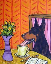 DOBERMAN pinscher  cafe coffee shop  dog art print artwork gift 13x19