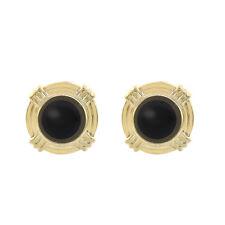 Round Shape Onyx Earrings 14K Yellow Gold