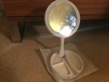 Battery Operated Light Up Vanity Mirror With Storage For Make-up Etc - New