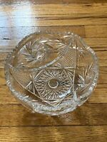 American Brilliant Period ABP Cut Crystal 8 Inch Ornate Bowl