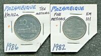 MOZAMBIQUE - 2 BEAUTIFUL HISTORICAL COINS, 1982, 5 METICAIS & 1986, 10 METICAIS