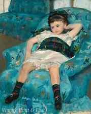 Child Relax - Little Girl in a Blue Chair by Mary Cassatt 8x10 Art Print 0508