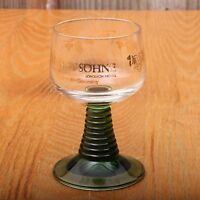 Vintage German Schmitt Sohne Green Ribbed Cordial Wine Glass Goblet
