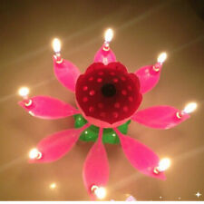 Amazing Musical Lotus Flower Happy Birthday Candle Party Cake Topper Decoration