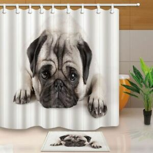 Cute Animals Decor Sadly Pug Puppy Dog Lying Down Waterproof Shower Curtain Set