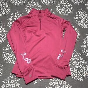 Athleta Half ZIP Small Long sleeve Pullover Thumb Hole Snag Pink Yoga Pocket