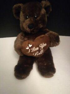 "Dan Dee  Teddy Bear Brown  Heart I Love You Latte Plush 2018 12"""