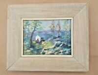 Vintage Acrylic on Board Painting Covered Wagon Mountain Landscape Unsigned