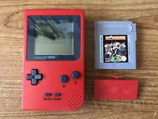 Nintendo Game Boy Pocket Red Handheld Console Bundle +1 Game