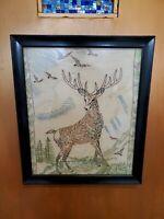 Vintage Deer Needlepoint Art 10 Point Buck Landscape Scenery RARE Glass Framed