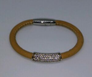 GM Sterling Silver Pave CZ Light Brown Leather Bracelet Stainless Steel Clasp