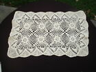LOT #46- VINTAGE HAND CROCHETED LACE DOILY  18' X 12' CHAMPAGNE SAND BEIGE
