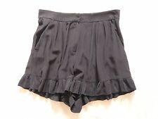 Maje soie noire short avec poches + Volants Ourlet Taille 40 = UK 8