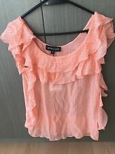 Brand New with Tag Bettina Liano Ruffle Details Silk Top in Coral Size 8