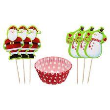 48 Piece Christmas Cupcake / Muffin Set (24 Cases & 24 Santa / Snowman Picks)