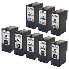 8PK #32 #33 BLACK COLOR Inkjet for Lexmark 18C0032 18C0033 Z810 Z812 X5450 P8350