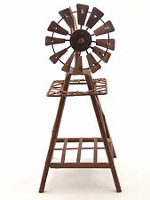 Metal Windmill Rustic Brown Sculpture Ornament Home & Garden Décor *30 cm*