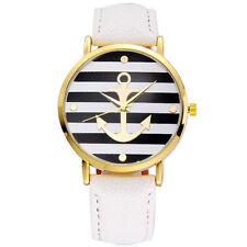 Armbanduhren mit Kunstleder-Armband und Gelbgold für Damen