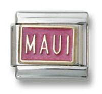MAUI Italian Charm 18K Gold Pink Enamel 9 mm Stainless Steel Modular Link Hawaii