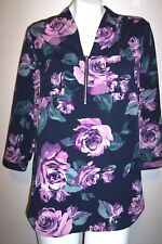 Jaclyn Smith Top M Purple Blue Floral Silky Boho Peasant Tunic Shirt Blouse M