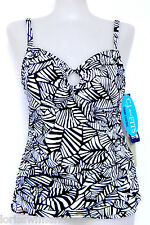 Caribbean Joe Size 18 Black Print Convertible Strap Tankini Swimsuit TOP NWT