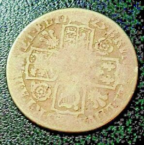 RARE Antique George 1st 1725 Silver Shilling Coin