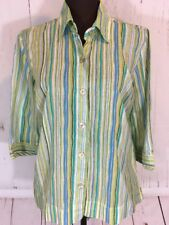JH Collectibles Shirt Blouse Womens Medium Green Striped Button Front 3/4 Sleeve