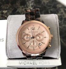 BRAND NEW Michael KorsMK 6199 Chronograph Audrina Tortoise Acetate Women's Watch