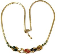 VINTAGE NECKLACE GOLD TONE METAL CHAIN STONE ACCENTS CLASSY JEWELRY