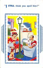 POSTCARD    COMIC    Dog    Lamp   Post   Related....