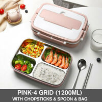 Stainless Steel Thermos Thermal Lunch Box Bento Food Container Handle Kids  ︵ ‡