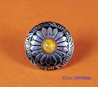10X Western Yellow Turquoise Sun Flower Engraved Saddle Leather Crafts Conchos