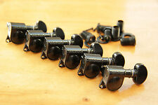 GROVER 305 ROTOMATIC TUNERS 6/L BLACK TUNING MACHINE PEGS BK 6 in a Line STRAT®