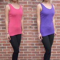 Womens Ladies Long Length Vest Top Size UK 8 10 12 14 16 Pink Purple Tall sale