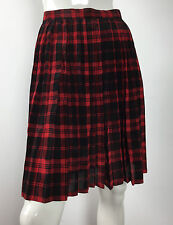 Waltex gonna plissettata mini rosso nero quadri 44 vintage skirt usato pieghe