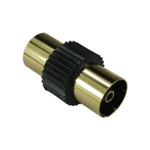 2 x GOLD RF Coaxial Coupler TV Aerial Cable Joiner Adaptor Female Socket F Black