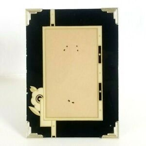 1930s Reverse Painted Art Deco Stars 5x7 Glass Tabletop Picture Frame Black Gold