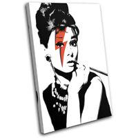 Audrey Hepburn Pop Art  Iconic Celebrities CANVAS WALL ART Picture Print VA