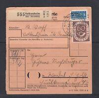 Paketpostkarte mit 50 + 60 Pfennig Posthorn - Mi-Nr. 134+135