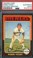 Robin Yount PSA DNA Coa Autograph 1975 Topps Rookie Hand Signed