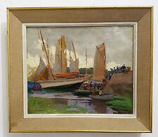 Tableau Paul André Jean Eschbach, pêcheurs Breton, Bretagne,Concarneau,